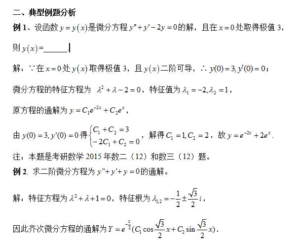 2016考研数学:二阶常系数齐次线性微分方程的
