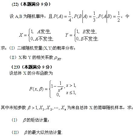 历年考研数学真题下载:2004年考研数学一真题