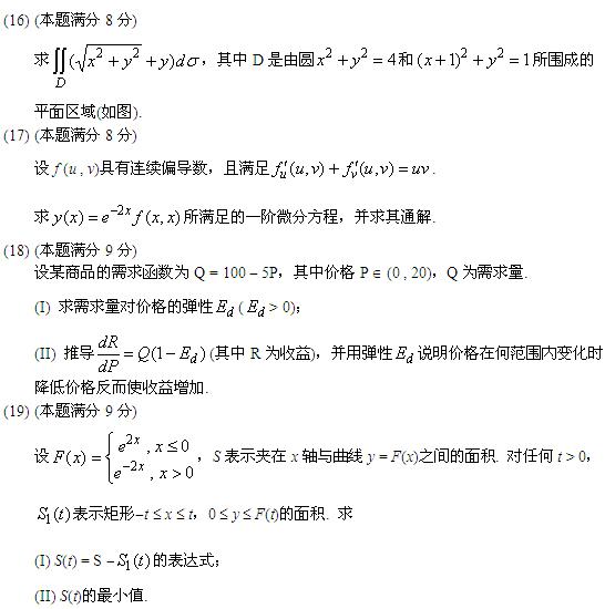 历年考研数学真题下载:2004年考研数学四真题