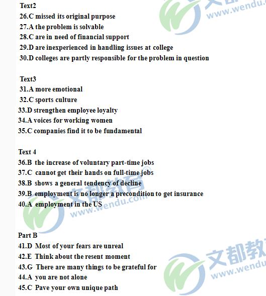 历年考研英语真题下载:2015年考研英语(二)真题答案
