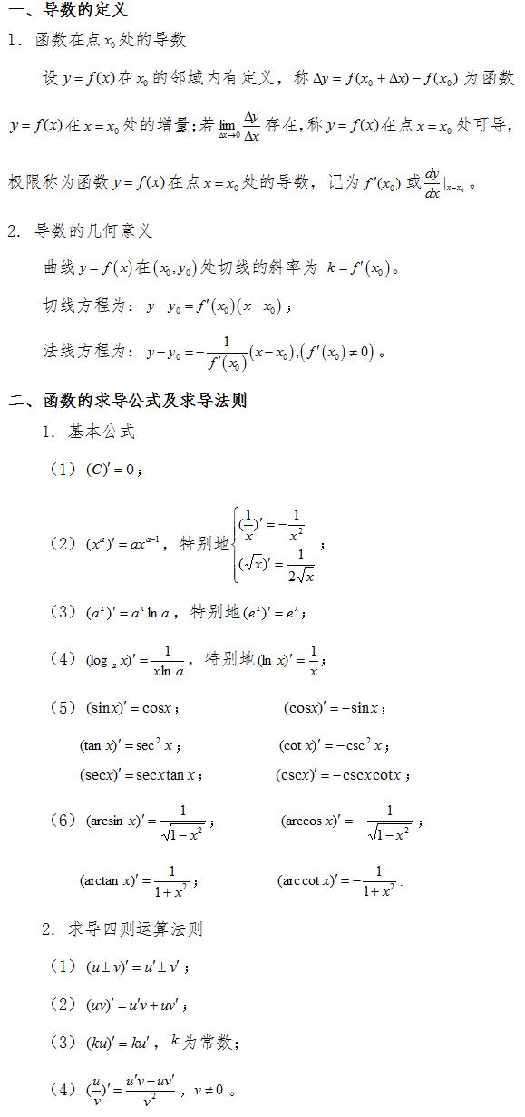 2019考研数学复习:导数与微分(一)