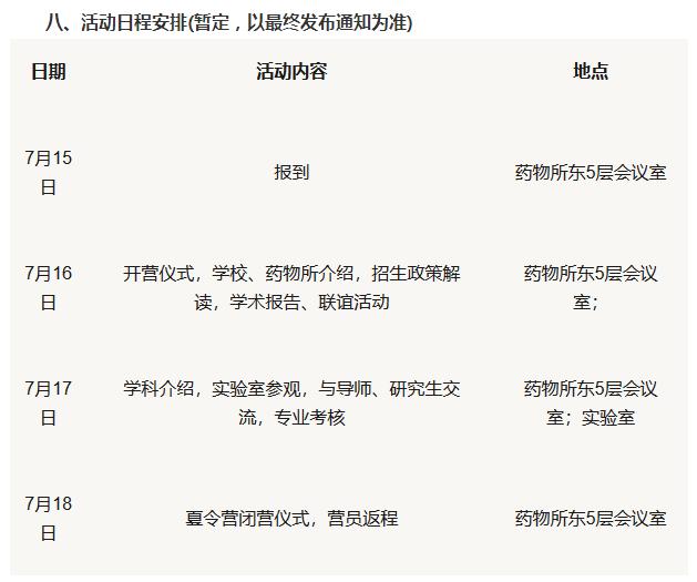 北京协和医院药物研究所2019保研夏令营通知