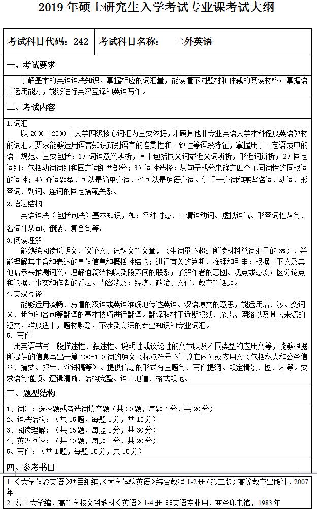 齐齐哈尔大学2019考研大纲